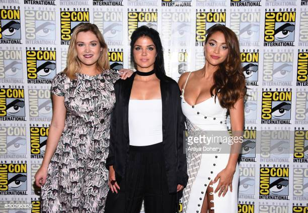 Eliza Taylor Marie Avgeropoulos and Lindsey Morgan attend The 100 press conference at ComicCon International 2017 on July 21 2017 in San Diego...