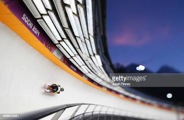 Eliza Tiruma of Latvia in action during the Women's Luge Singles on Day 4 of the Sochi 2014 Winter Olympics at Sliding Center Sanki on February 11...