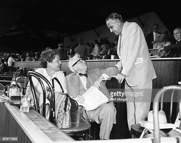 Elizabeh Navarro Bernard Baruch and Hon Averill Harriman at the Saratoga Race Track Saratoga NY c1958