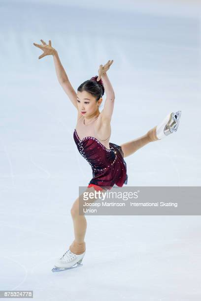Elizabet Tursynbaeva of Kazakhstan competes in the Ladies Short Program during day one of the ISU Grand Prix of Figure Skating at Polesud Ice Skating...