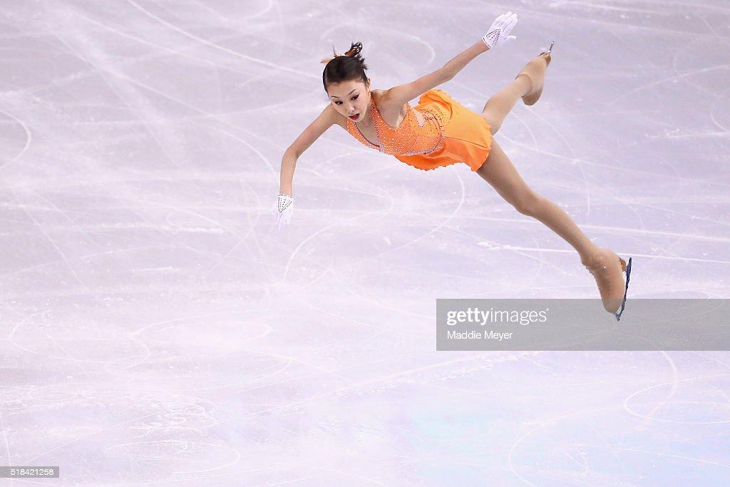 Elizabet Tursynbaeva of Kazakhstan skates in the Ladies Short Program during Day 4 of the ISU World Figure Skating Championships 2016 at TD Garden on...
