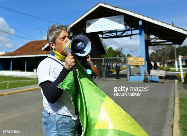 Elizabete Monteiro protests against the release from prison of former Brazilian politician and the chief of staff to Lula da Silva's administration...