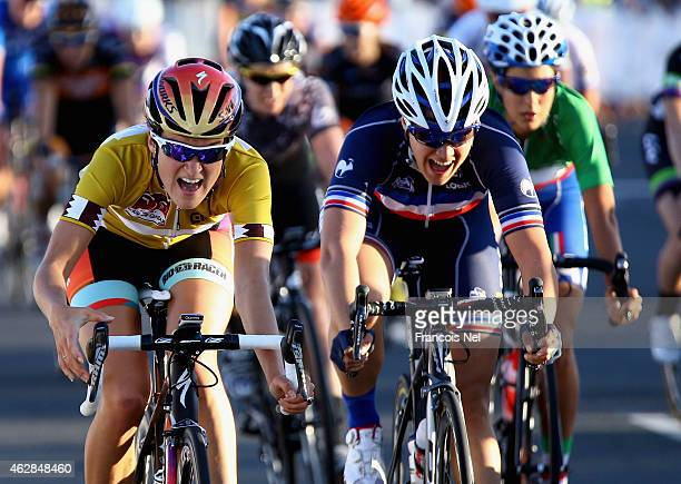 Elizabeth Armitstead of Great Britain and Boels Dolmans Cycling crosses the finishline to win stage four of the 2015 Ladies Tour of Qatar from...