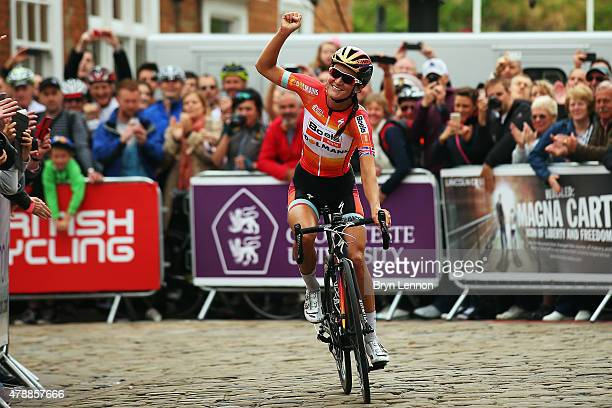 Elizabeth Armitstead of Great Britain and the Boels Dolmans Cycling Team celebrates winning the Women's 2015 British National Championship road race...