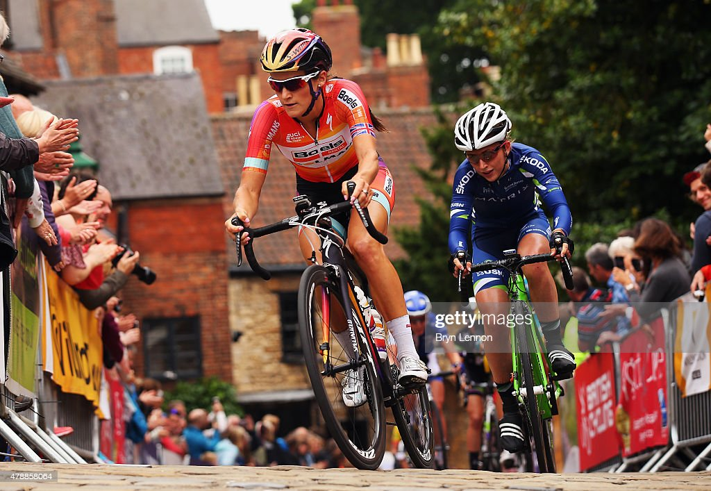 Elizabeth Armitstead of Great Britain and the Boels Dolmans Cycling Team leads <a gi-track='captionPersonalityLinkClicked' href=/galleries/search?phrase=Laura+Trott+-+Cyclist&family=editorial&specificpeople=7205074 ng-click='$event.stopPropagation()'>Laura Trott</a> of Great Britain and the Matrix Fitness team up the Michaelgate climb on the Women's 2015 British National Championship road race on June 28, 2015 in Lincoln, England.