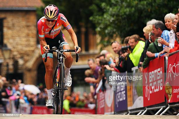Elizabeth Armitstead of Great Britain and the Boels Dolmans Cycling Team rides up the Michaelgate climb on the Women's 2015 British National...