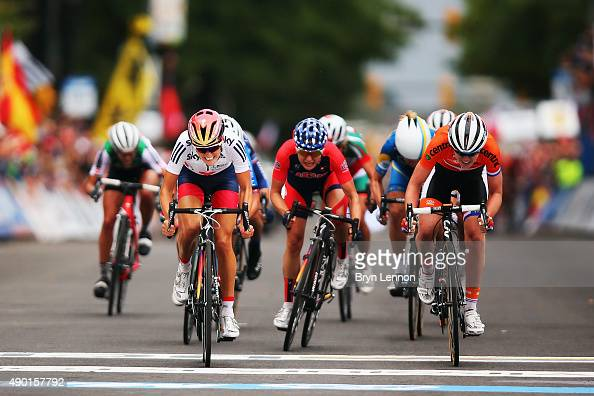 Elizabeth Armitstead of Great Britain leads the bunch sprint on her way to winning the Elite Women's Road Race on day seven of the UCI Road World...