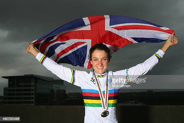 Elizabeth Armitstead of Great Britain poses for a photo after winning the Elite Women's World Road Race Championship on September 27 2015 in Richmond...