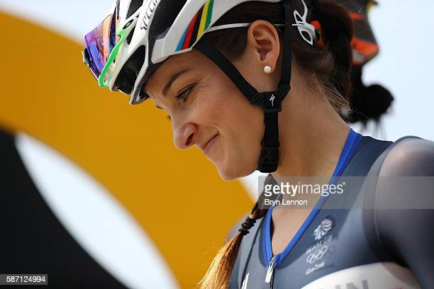 Elizabeth Armitstead of Great Britain prepares to start during the Women's Road Race on Day 2 of the Rio 2016 Olympic Games at Fort Copacabana on...