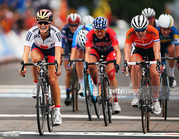 Elizabeth Armitstead of Great Britain reacts to winning the Elite Women's Road Race on day seven of the UCI Road World Championships on September 26...