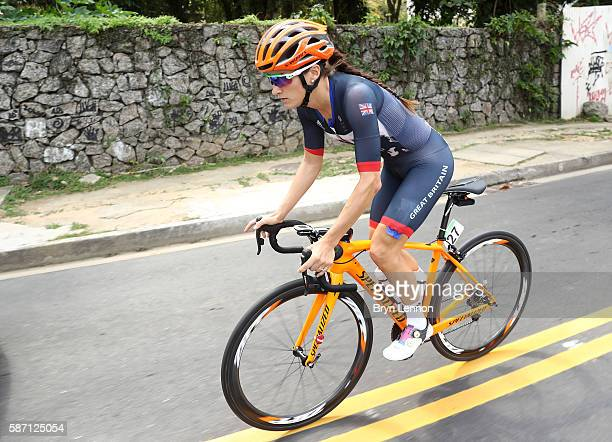 Elizabeth Armitstead of Great Britain rides during the Women's Road Race on Day 2 of the Rio 2016 Olympic Games at Fort Copacabana on August 7 2016...