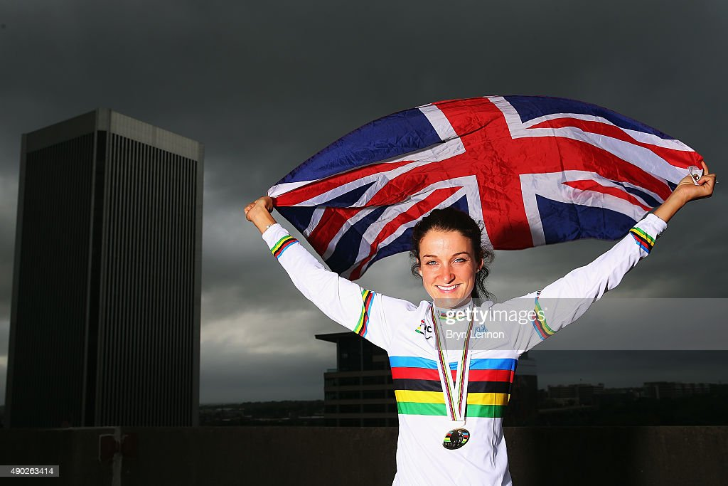 Elizabeth Armitstead poses for a photo after winning the World Road Race Championship on September 27 2015 in Richmond Virginia