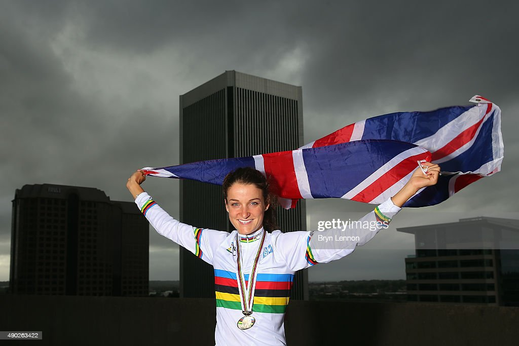 Elizabeth Armitstead poses for a photo after winning the World Road Race Championship on September 27, 2015 in Richmond, Virginia.