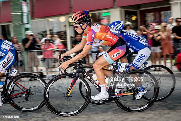 Elizabeth Armitstead riding for the Boels Dolmans Cycling Team one the way to her win at the Philadelphia Cycling Classic on June 7 2015 in...