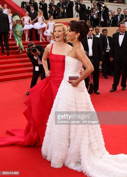 Elizabeth Banks and Aishwarya Rai Bachchan arriving at the Up premiere at the Palais de Festival during the 62nd Cannes Film Festival France