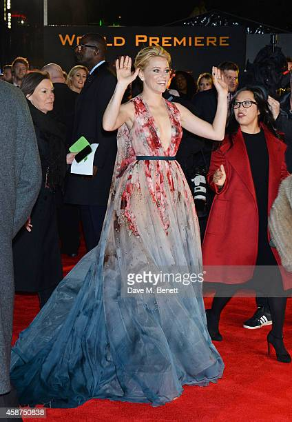 Elizabeth Banks attends the World Premiere of 'The Hunger Games Mockingjay Part 1' at Odeon Leicester Square on November 10 2014 in London England