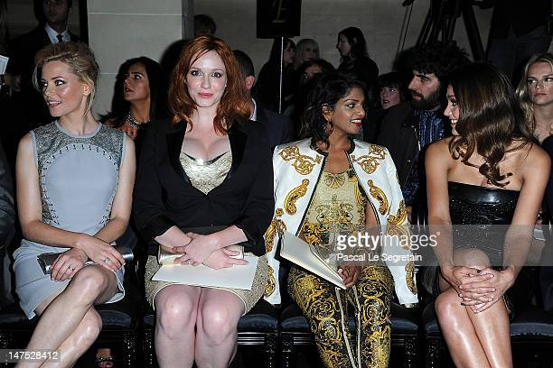 Elizabeth Banks Christina Hendricks MIA and Jessica Alba attend the Versace HauteCouture show as part of Paris Fashion Week Fall / Winter 2012/13 at...