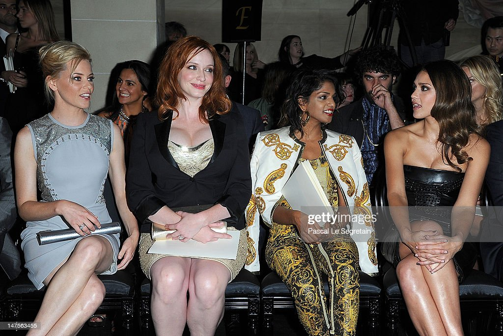 Elizabeth Banks, Christina Hendricks, M.I.A. and Jessica Alba attend the Versace Haute-Couture show as part of Paris Fashion Week Fall / Winter 2012/13 at the Ritz hotel on July 1, 2012 in Paris, France.
