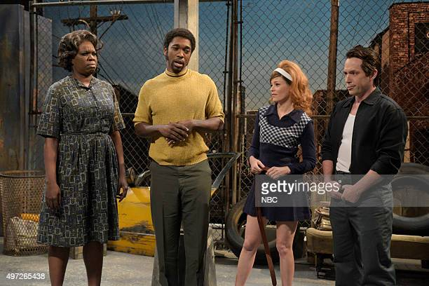 LIVE 'Elizabeth Banks' Episode 1688 Pictured Leslie Jones Jay Pharoah as Ben Carson Elizabeth Banks and Beck Bennett during the 'Young Ben Carson'...