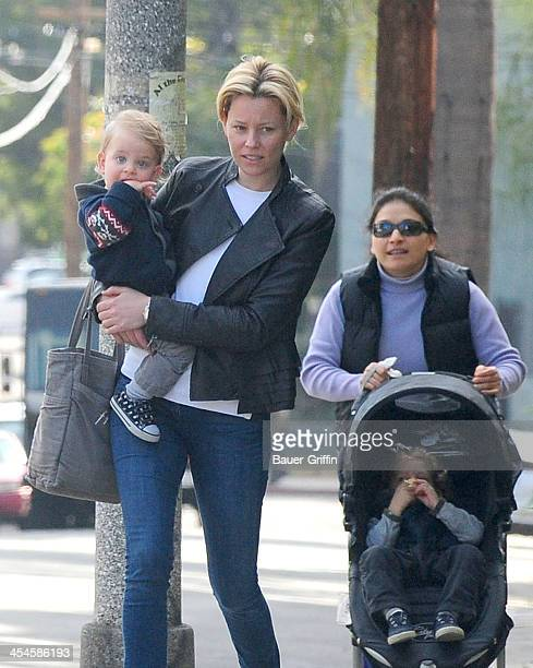 Elizabeth Banks is seen taking a walk with her sons Magnus Handelman and Felix Handelman on December 09 2013 in Los Angeles California