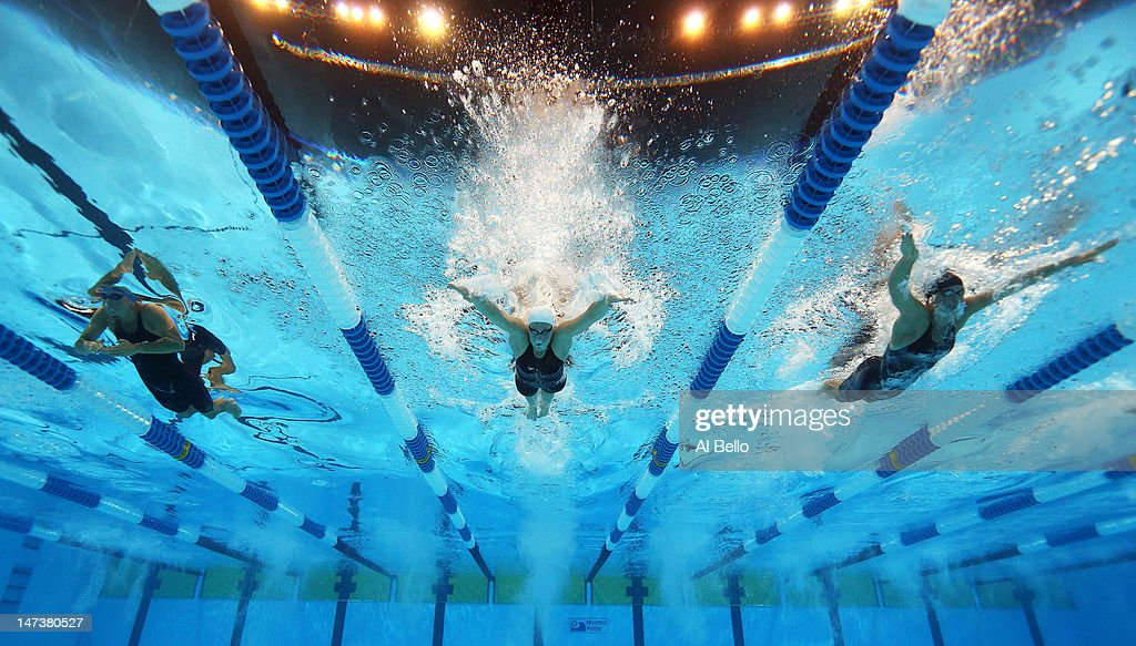 Elizabeth Beisel Caitlin Leverenz and Elizabeth Pelton compete in the championship final of the Women's 200 m Individual Medley during Day Four of...