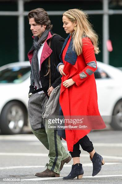 Elizabeth Berkley and Greg Lauren are seen in New York City on November 07 2014 in New York City
