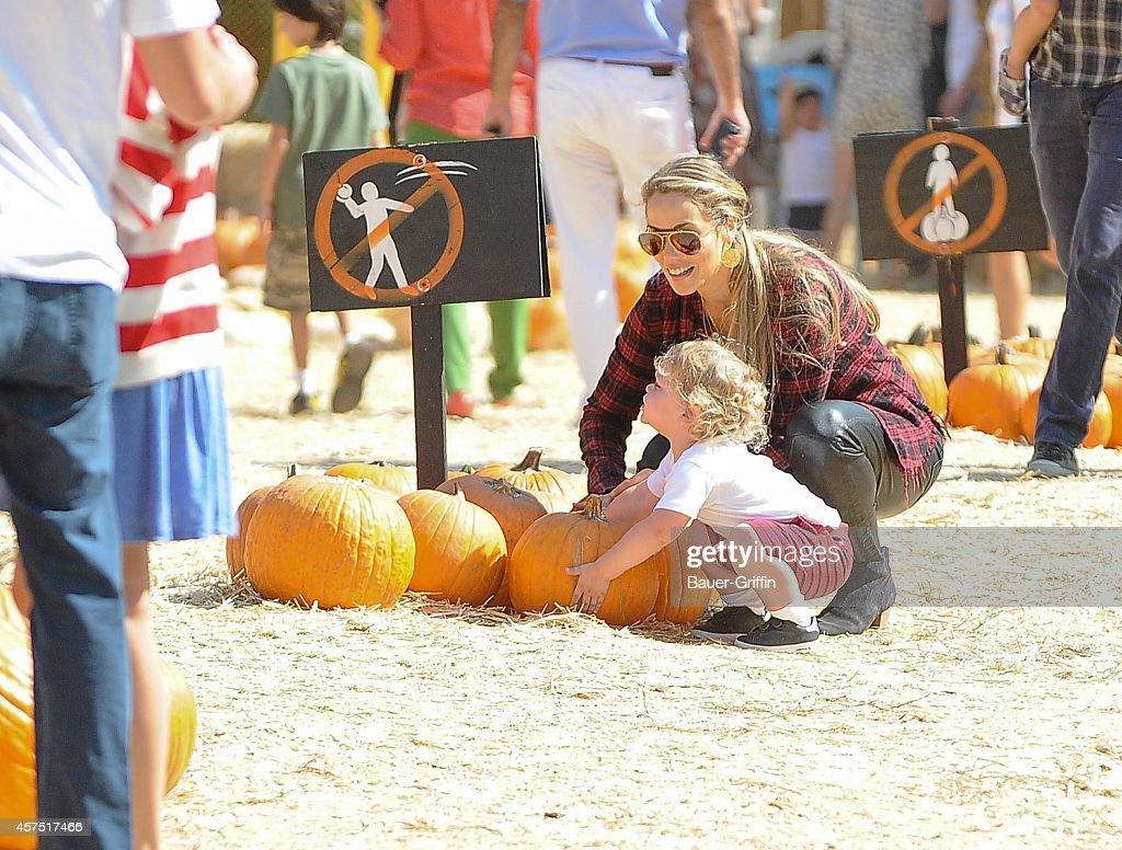 Elizabeth Berkley is seen with son Sky on October 19 2014 in Los Angeles California