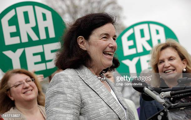 Elizabeth Cady Stanton Trust cofounder and Stanton's greatgreatgranddaughter Coline Jenkins Rep Carolyn Maloney and others hold a rally to mark the...