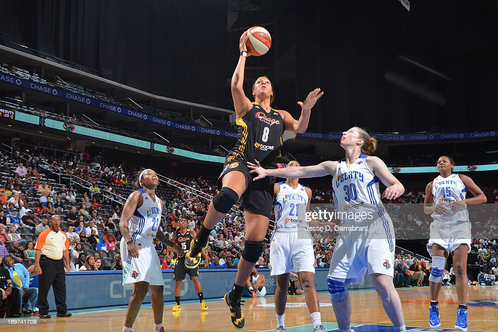 Elizabeth Cambage #8 of the Tulsa Shock shoots against the New York Liberty during the game on May 31, 2013 at Prudential Center in Newark, New Jersey.