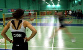 Elizabeth Cann of the England Badminton squad looks on during training at the National Badminton Centre on February 23 2011 in Milton Keynes England