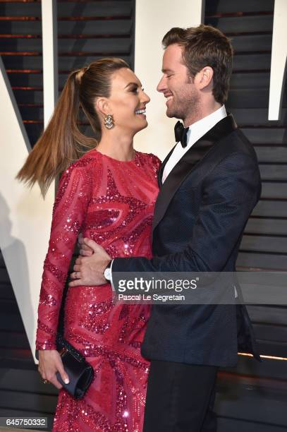 Elizabeth Chambers and actor Armie Hammer attend the 2017 Vanity Fair Oscar Party hosted by Graydon Carter at Wallis Annenberg Center for the...