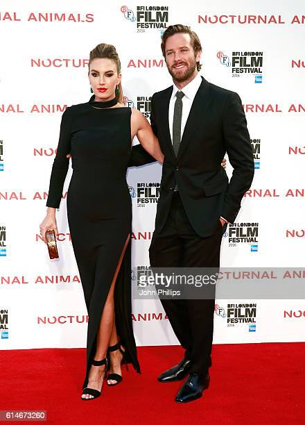 Elizabeth Chambers and actor Armie Hammer attend the 'Nocturnal Animals' Headline Gala screening during the 60th BFI London Film Festival at Odeon...