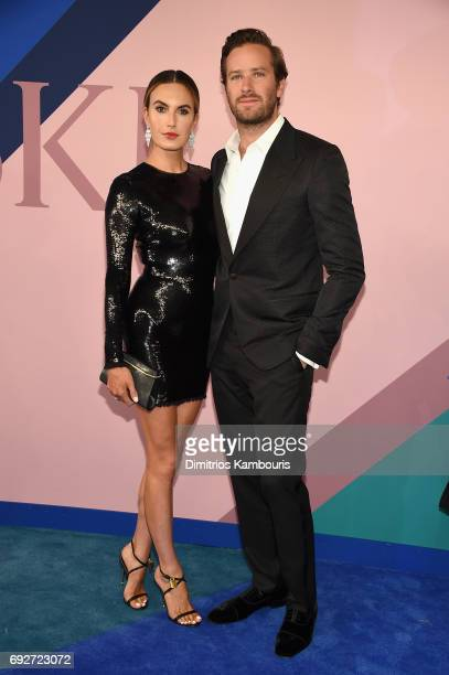 Elizabeth Chambers and Armie Hammer attend the 2017 CFDA Fashion Awards at Hammerstein Ballroom on June 5 2017 in New York City