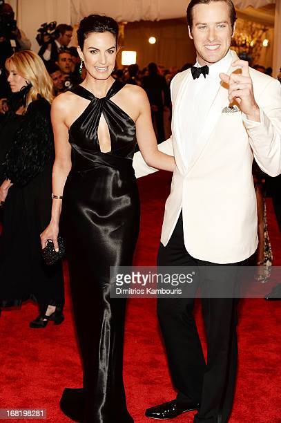 Elizabeth Chambers and Armie Hammer attend the Costume Institute Gala for the 'PUNK Chaos to Couture' exhibition at the Metropolitan Museum of Art on...