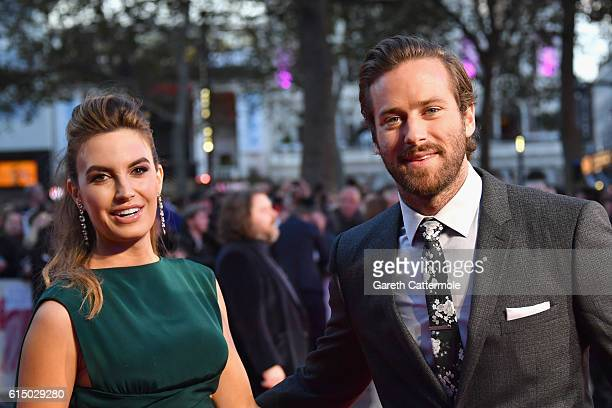 Elizabeth Chambers and Armie Hammer attend the 'Free Fire' Closing Night Gala screening during the 60th BFI London Film Festival at Odeon Leicester...