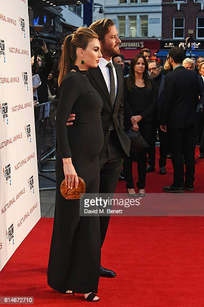 Elizabeth Chambers and Armie Hammer attend the 'Nocturnal Animals' Headline Gala screening during the 60th BFI London Film Festival at Odeon...