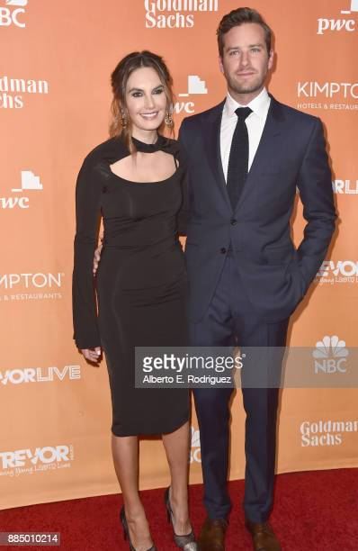 Elizabeth Chambers and Armie Hammer attend The Trevor Project's 2017 TrevorLIVE LA on December 3 2017 in Beverly Hills California