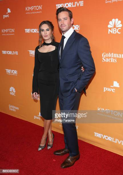 Elizabeth Chambers and Armie Hammer attend The Trevor Project's 2017 TrevorLIVE LA Gala at The Beverly Hilton Hotel on December 3 2017 in Beverly...