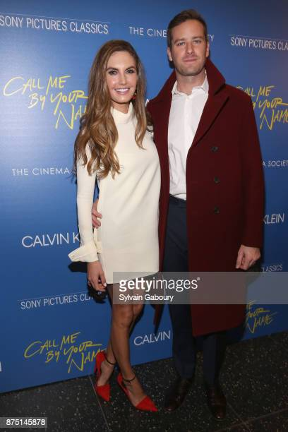 Elizabeth Chambers and Armie Hammer attends Calvin Klein and The Cinema Society host a screening of Sony Pictures Classics' 'Call Me By Your Name' on...