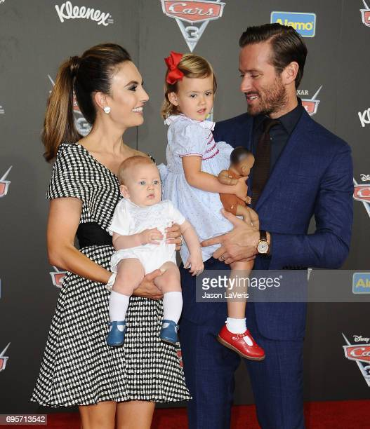 Elizabeth Chambers Armie Hammer and children Harper Hammer and Ford Douglas Armand Hammer attend the premiere of 'Cars 3' at Anaheim Convention...