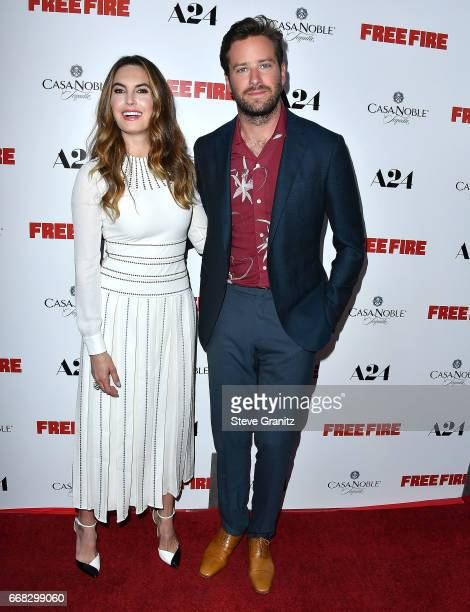 Elizabeth Chambers Armie Hammer arrive at the Premiere Of A24's 'Free Fire' at ArcLight Hollywood on April 13 2017 in Hollywood California