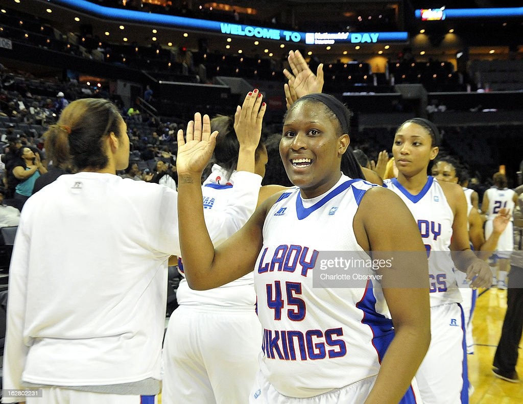 Elizabeth City State's Stephanie Harper (45) celebrates a 74-68 win over Saint Augustine in CIAA Tournament action on Wednesday, February 27, 2013, at Time Warner Cable Arena in Charlotte, North Carolina. Elizabeth City State advances to the semifinals,.