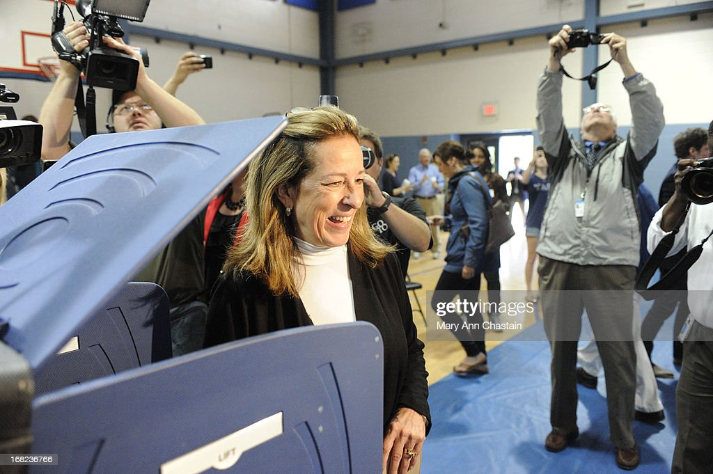 Elizabeth Colbert Busch smiles after casting her vote in a special election runoff with former South Carolina Gov. Mark Sanford for a seat in the 1st Congressional District May 7, 2013 in Charleston, South Carolina. Voters are deciding between Sanford, a Republican seeking a political comeback after an extramarital affair and Busch, a Democratic businesswoman and the sister of comedian of Stephen Colbert.