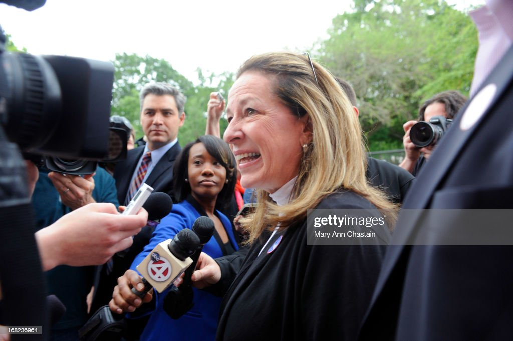 <a gi-track='captionPersonalityLinkClicked' href=/galleries/search?phrase=Elizabeth+Colbert+Busch&family=editorial&specificpeople=10285068 ng-click='$event.stopPropagation()'>Elizabeth Colbert Busch</a> speaks to media after casting her vote in a special election runoff with former South Carolina Gov. Mark Sanford for a seat in the 1st Congressional District May 7, 2013 in Charleston, South Carolina. Voters are deciding between Sanford, a Republican seeking a political comeback after an extramarital affair and Busch, a Democratic businesswoman and the sister of comedian of Stephen Colbert.