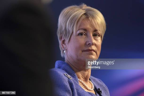 Elizabeth Corley chief executive officer and cohead of its Allianz Global Investors unit looks on during the International Fintech Conference in...