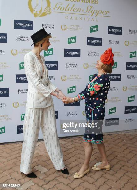 Elizabeth Debicki and Gai Waterhouse pose during the 2017 Golden Slipper Day at Rosehill Gardens on March 18 2017 in Sydney Australia