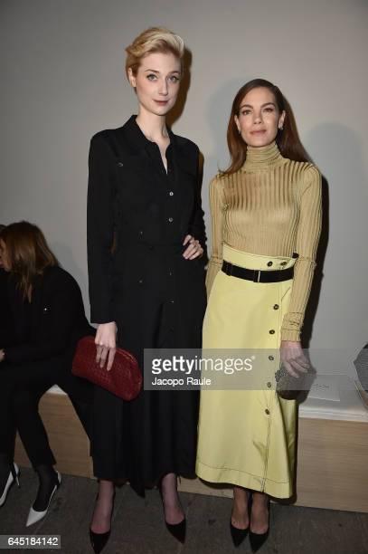 Elizabeth Debicki and Michelle Monaghan attend the Bottega Veneta show during Milan Fashion Week Fall/Winter 2017/18 on February 25 2017 in Milan...