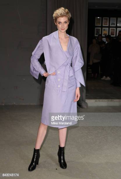 Elizabeth Debicki attends the Burberry show during the London Fashion Week February 2017 collections on February 20 2017 in London England