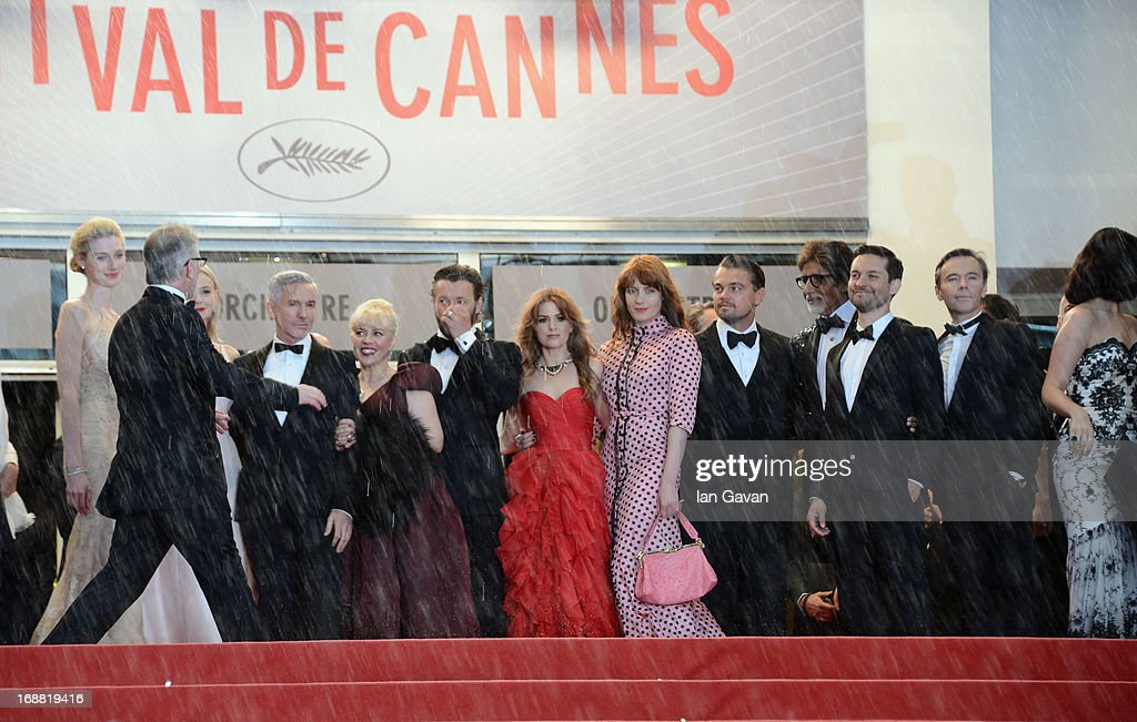 Elizabeth Debicki, Carey Mulligan, Baz Luhrmann, Joel Edgerton, Isla Fisher, Leonardo DiCaprio and Tobey Maguire attend Electrolux at Opening Night of The 66th Annual Cannes Film Festival at the Theatre Lumiere on May 15, 2013 in Cannes, France.