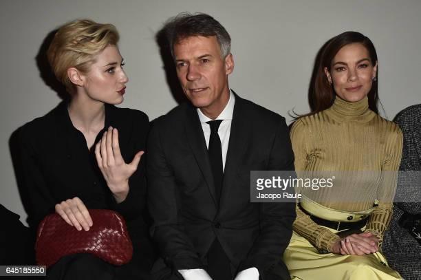 Elizabeth Debicki ClausDietrich Lahrs and Michelle Monaghan attend the Bottega Veneta show during Milan Fashion Week Fall/Winter 2017/18 on February...